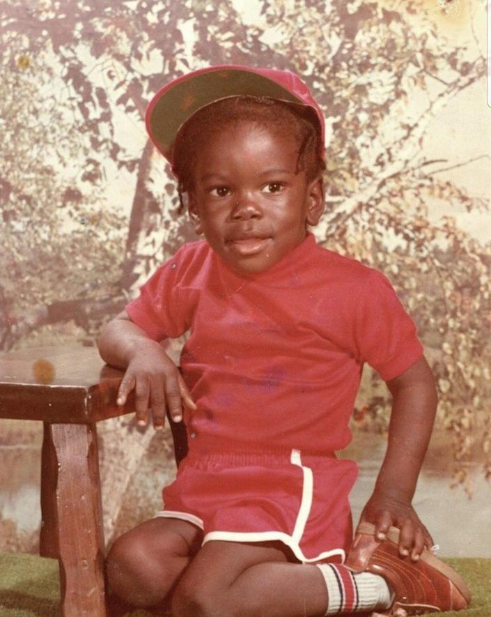 A toddler photo of Ian Manuel around age 3 in Tampa, Florida.