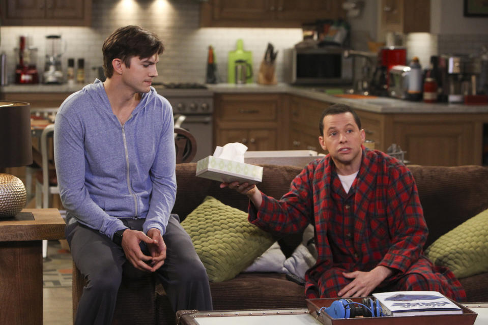 """LOS ANGELES - JANUARY 23: """"Cab Fare and a Bottle of Penicillin"""" --Alan gives Lyndsey the option of choosing between him and Larry.  Meanwhile, Jenny fears she and Brooke are growing apart, on TWO AND A HALF MEN, Thursday, Feb. 27 (9:31-10:01 PM, ET/PT) on the CBS Television Network. Pictured L-R: Ashton Kutcher as Walden Schmidt and Jon Cryer as Alan Harper. (Photo by Monty Brinton/CBS via Getty Images)"""
