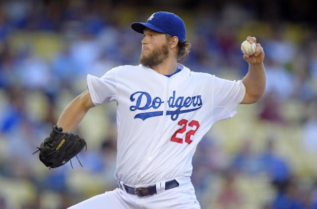 Los Angeles Dodgers starting pitcher Clayton Kershaw throws to the plate during the first inning of a baseball game against the San Diego Padres, Thursday, July 10, 2014, in Los Angeles. (AP Photo/Mark J. Terrill)