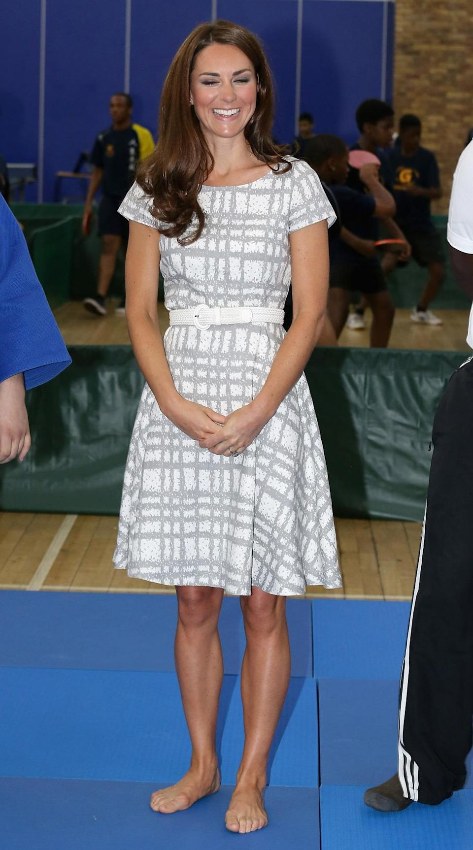 <p>The Duchess attended a sport launch in London dressed in a printed summer dress by Hobbs. She paired the dress with a braided white belt.</p><p><i>[Photo: PA]</i></p>