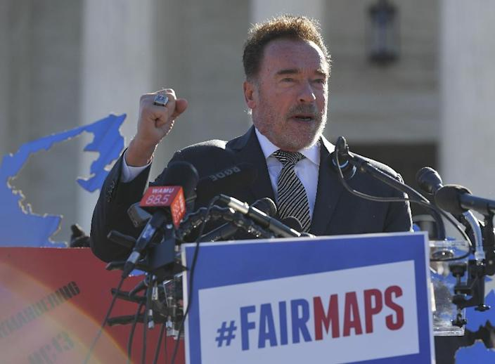 Former California Governor Arnold Schwarzenegger speaks outside the US Supreme Court as the court heard a case about gerrymandering (AFP Photo/MANDEL NGAN)