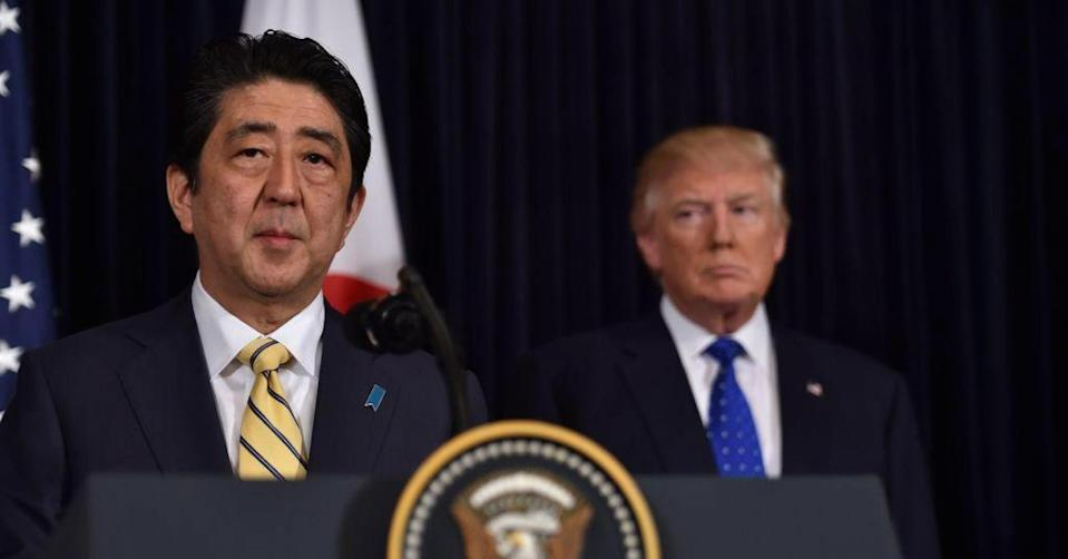Japanese prime minister Shinzo Abe (L) and U.S. President Donald Trump. Japanese investors have been a major buyer of U.S. assets over the last couple years as overall foreign investment in the U.S. has risen as a percentage of GDP. Nicholas Kamm   AFP   Getty Images