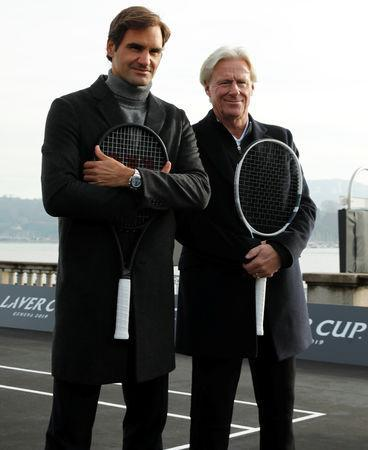 Switzerland's Roger Federer and Bjorn Borg (R) of Sweden pose after a tennis session to promote the Laver Cup tennis tournament on a temporary court on the banks of Lake Geneva in Geneva, Switzerland February 8, 2019. REUTERS/Arnd Wiegmann