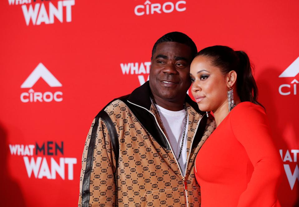 Tracy Morgan Megan Wollover at the premiere of What Men Want in Los Angeles on January 28, 2019.