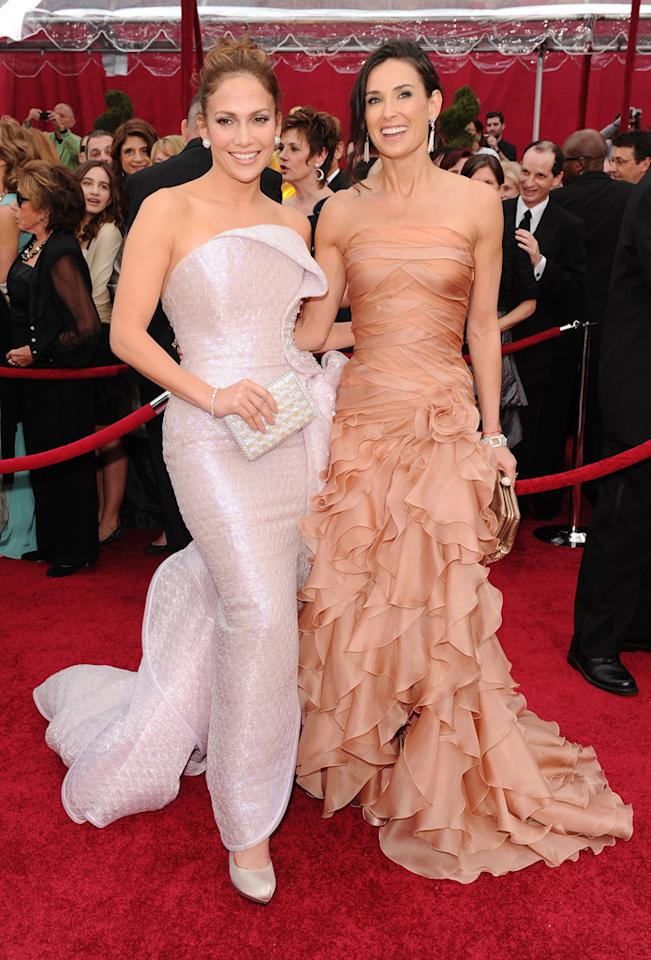 Jennifer Lopez and Demi Moore arrive at the 82nd Annual Academy Awards held at Kodak Theatre on March 7, 2010 in Hollywood, California.