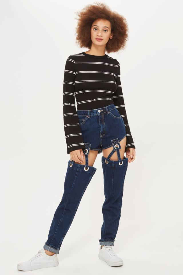 """<p>People think Topshop have lost their minds thanks to these incredibly creative suspender jeans. The quirky style will <a rel=""""nofollow"""" href=""""http://www.topshop.com/webapp/wcs/stores/servlet/ProductDisplay?beginIndex=1&langId=-1&productId=29367530&Ntt=suspender+jeans&pageSize=20&defaultGridLayout=3&Nty=1&CE3_ENDECA_PRODUCT_ROLLUP_ENABLED=N&productOnlyCount=1&catalogId=33057&Dy=1&pageNum=1&productIdentifierproduct=product&storeId=12556&qubitRefinements=siteId%3DTopShopUK"""">set you back £85</a> and are being described as """"hellish"""" and a """"sartorial nightmare"""" by shoppers.<br /><i>[Photo: Topshop]</i> </p>"""