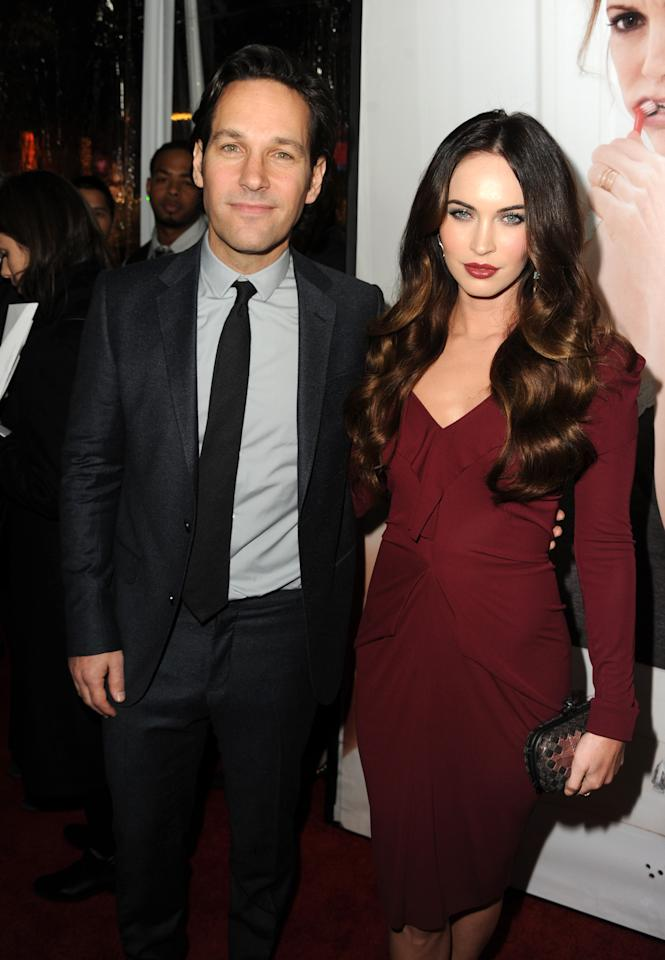 "HOLLYWOOD, CA - DECEMBER 12:  Actors Paul Rudd and Megan Fox attend the premiere of Universal Pictures' ""This Is 40"" at Grauman's Chinese Theatre on December 12, 2012 in Hollywood, California.  (Photo by Kevin Winter/Getty Images)"