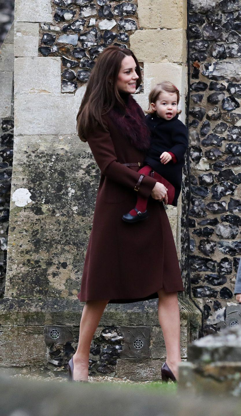 <p>The Duchess wears her favorite Hobbs Celeste coat on Christmas morning at St. Mark's Church in Englefield. She's been photographed in it several times since 2012.</p>