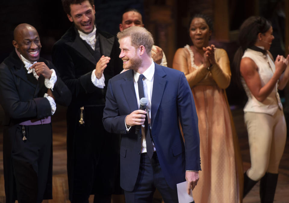 Prince Harry broke into song on stage at 'Hamilton'. [Photo: Getty]