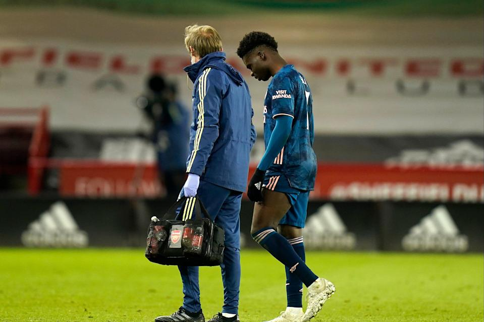 <p>Saka limped out of Sunday night's win</p> (Getty Images)