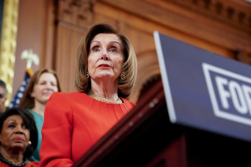 FILE PHOTO:  Speaker of the House Pelosi speaks during a news conference about legislation the House has passed at the Capitol in Washington