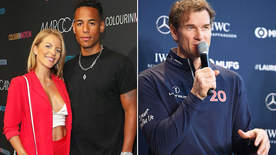 Pictured left, Dennis Aogo with his wife and Arsenal legend Jens Lehmann on the right.