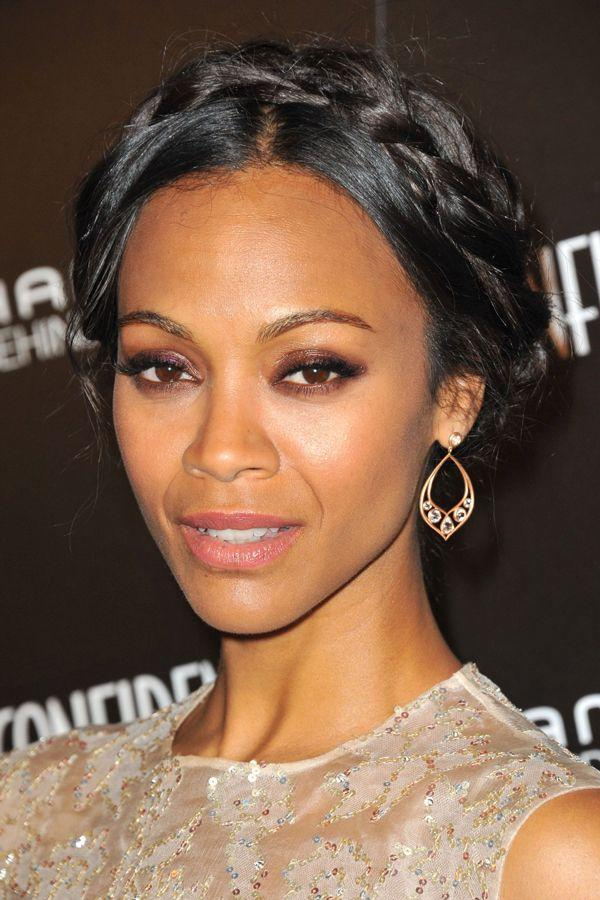 "<h3>Zoe Saldana</h3> <br>Saldana offers further inspiration for how to weave a crown braid into a timeless and flattering updo.<span class=""copyright"">Photo: Everett Collection/REX USA.</span><br>"