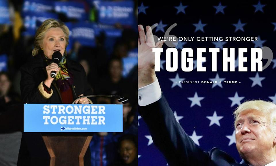 The Republican National Committee's pro-Trump graphic (right) borrowed the slogan of Hillary Clinton's 2016 presidential campaign. (Photos: Getty Images, @GOP via Twitter)