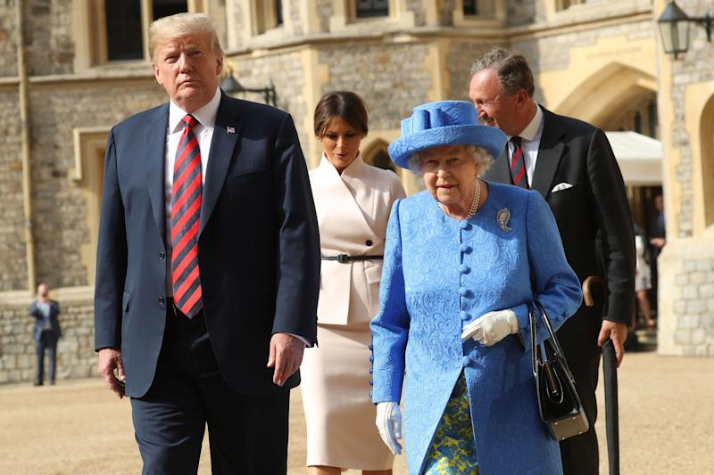 President Trump and the Queen, with First Lady Melania Trump behind, during a visit to the UK in July 2018 [Photo: PA]