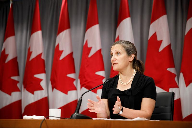 Deputy Prime Minister Chrystia Freeland speaks during a press conference in Toronto on Aug. 7, 2020. (Photo: Cole Burston/CP)