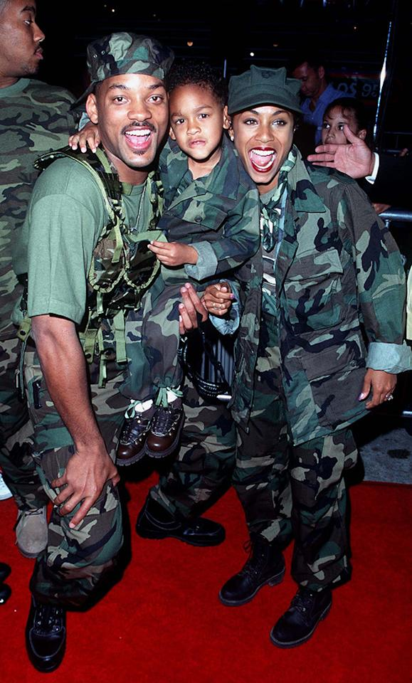 <p>Star Will Smith arrived in camo to the premiere with his son Trey and soon-to-be wife Jada Pinkett. They pair — who married in 1997— have two other kids together. <i>(Photo: Steve Granitz/WireImage)</i></p>