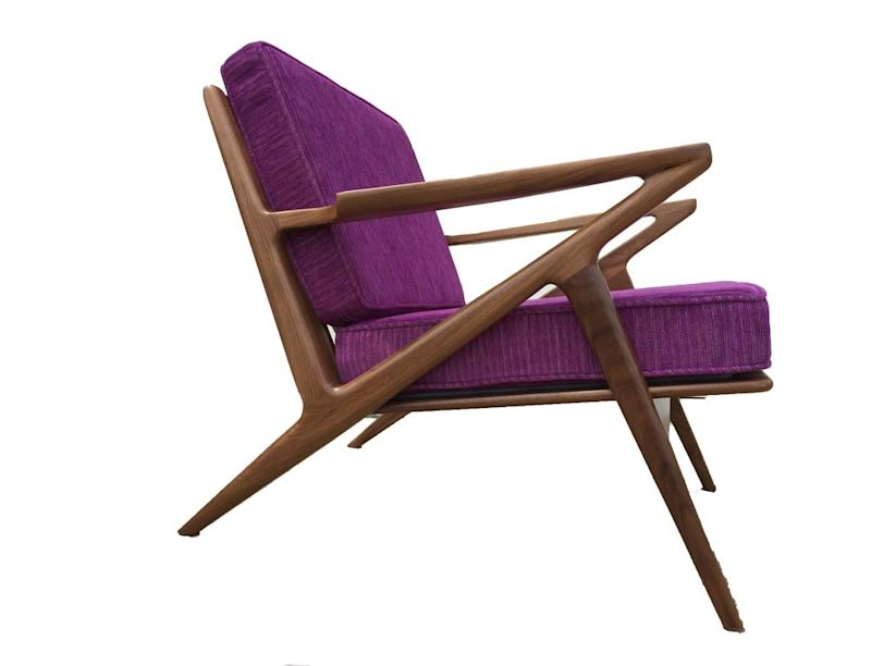 The popular Z chair comes in a range of beautiful, rich colors from olive to bright orange to a brilliant purple.