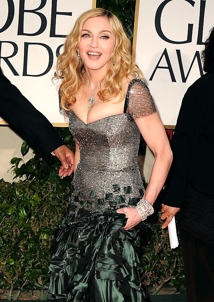 BEVERLY HILLS, CA - JANUARY 15:  Madonna arrives at the 69th Annual Golden Globe Awards at The Beverly Hilton hotel on January 15, 2012 in Beverly Hills, California.  (Photo by Steve Granitz/WireImage)