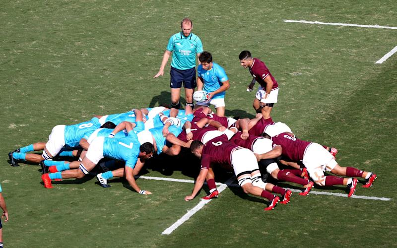 General view of a scrum during the Rugby World Cup 2019 Group D game between Georgia and Uruguay - GETTY IMAGES