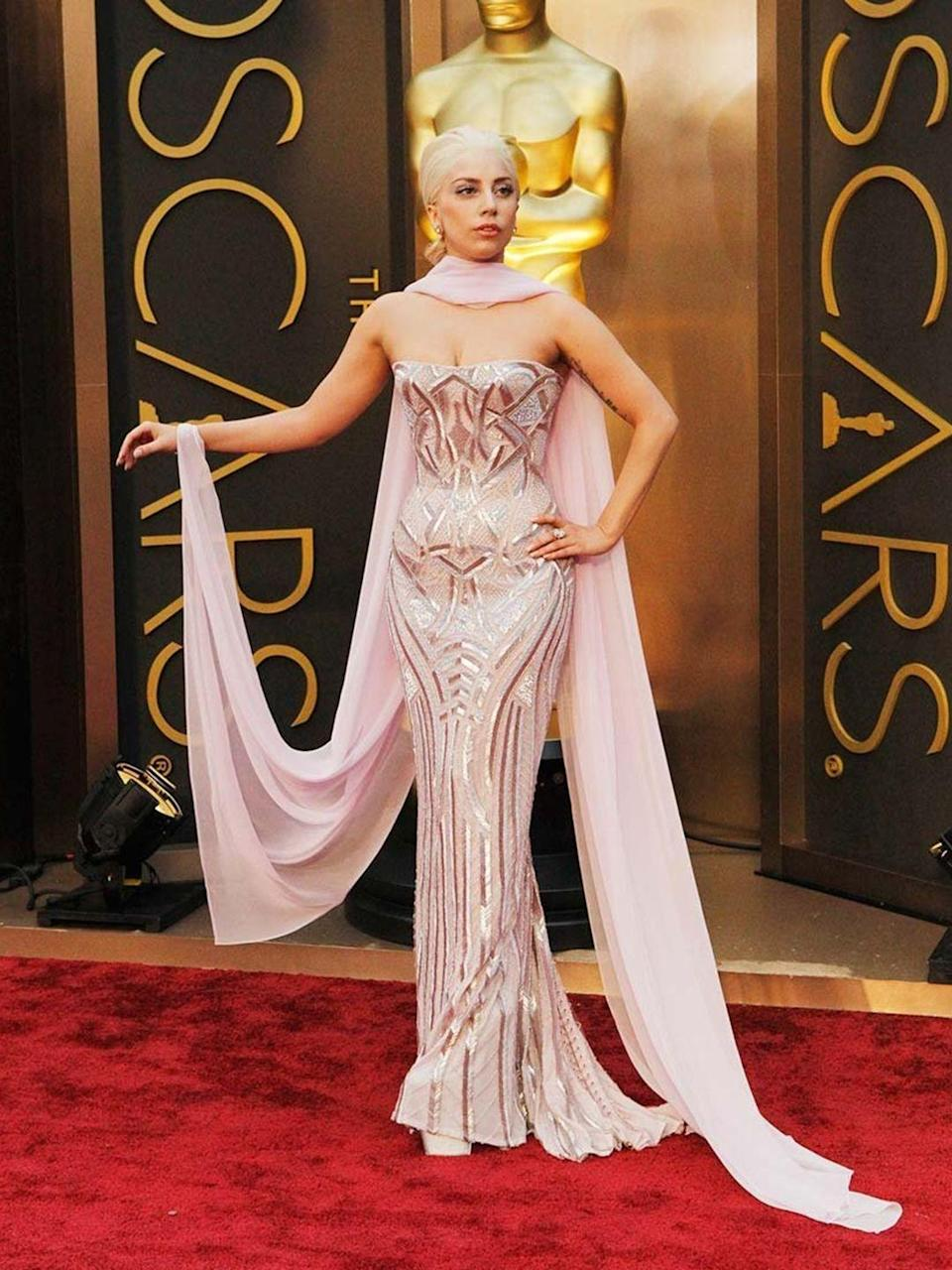 <p>Lady Gaga wearing Atelier Versace s/s 2014 Couture collection to the Oscars 2014</p>
