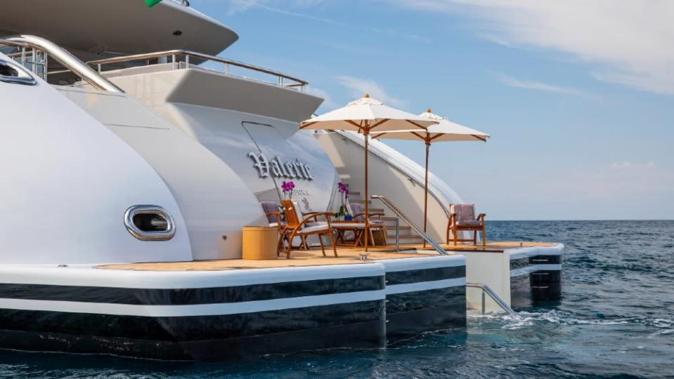 The beach club, with stairs that lead into the water. - Credit: Courtesy Dynamiq/YachtShot