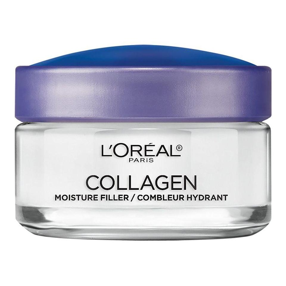 """<p><strong>L'Oreal Paris</strong></p><p>amazon.com</p><p><strong>$8.54</strong></p><p><a href=""""https://www.amazon.com/dp/B00NQ2TZEQ?tag=syn-yahoo-20&ascsubtag=%5Bartid%7C2089.g.341%5Bsrc%7Cyahoo-us"""" rel=""""nofollow noopener"""" target=""""_blank"""" data-ylk=""""slk:Shop Now"""" class=""""link rapid-noclick-resp"""">Shop Now</a></p><p>We can't lead you to the fountain of youth, but this plumping pot from L'Oréal comes in at a close second. The brand claims that within weeks, this collagen cream will fill, plump, and reduce wrinkles to help the skin look and feel more youthful.</p>"""