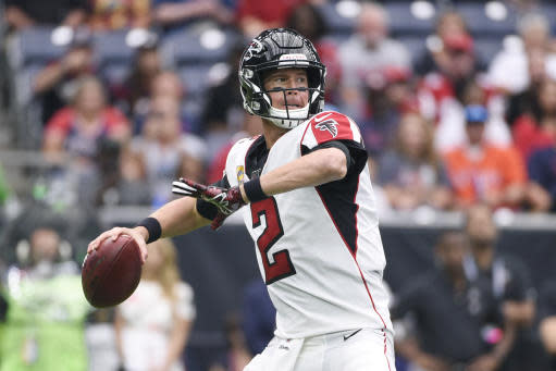 Atlanta Falcons quarterback Matt Ryan (2) throws against the Houston Texans during the first half of an NFL football game Sunday, Oct. 6, 2019, in Houston. (AP Photo/Eric Christian Smith)