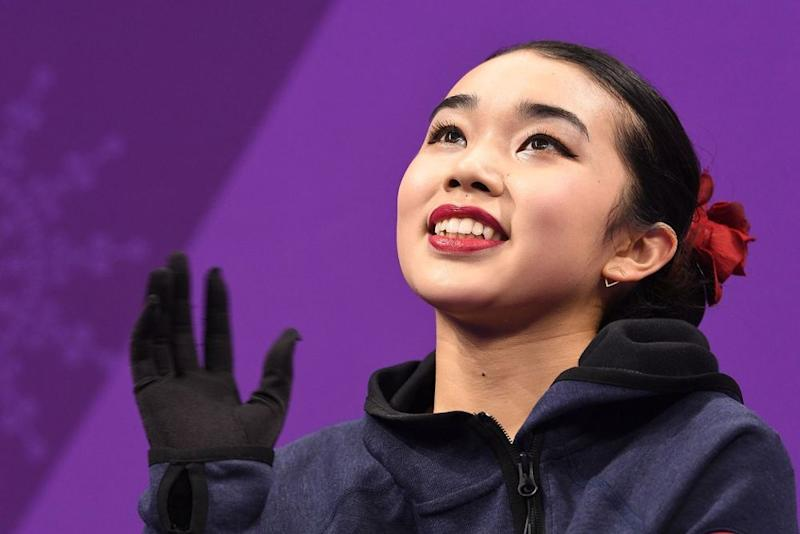 Figure skater Karen Chen after competing in the women's individual free skate at the 2018 Winter Olympics