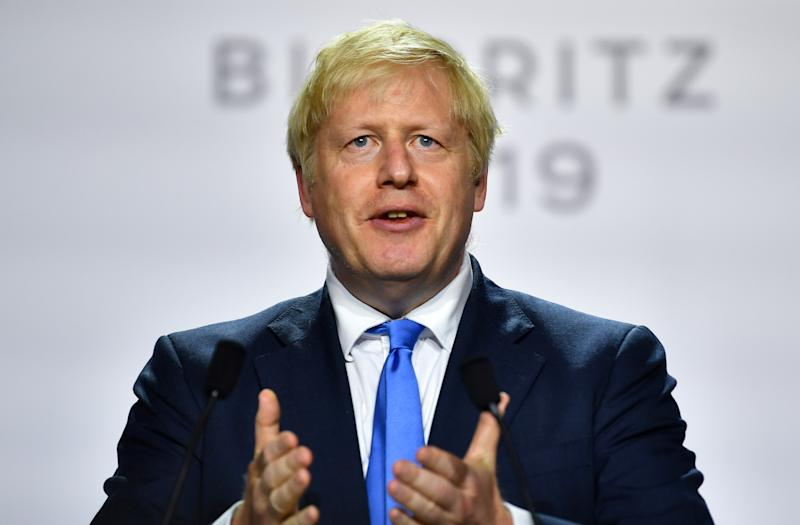 Britain's Prime Minister Boris Johnson speaks during a news conference at the end of the G7 summit in Biarritz, France, August 26, 2019. REUTERS/Dylan Martinez