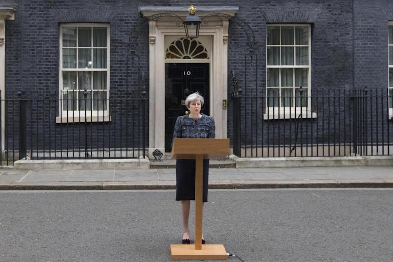 Theresa May makes a statement in Downing Street (PA)