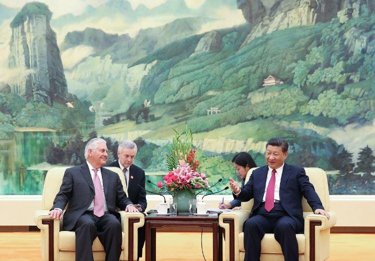 US Secretary of State Rex Tillerson (L) meets with Chinese President Xi Jinping (R) at the Great Hall of the People in Beijing: Reuters