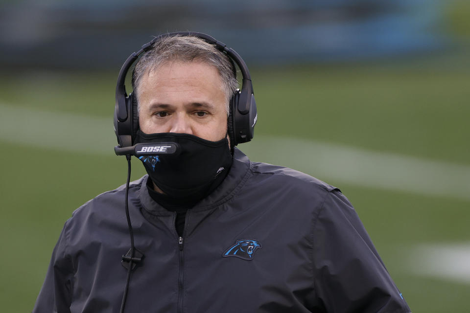 Carolina Panthers head coach Matt Rhule said he took a prospect off the team's 2020 NFL draft board following an elevator ride with him. (Photo by Jared C. Tilton/Getty Images)