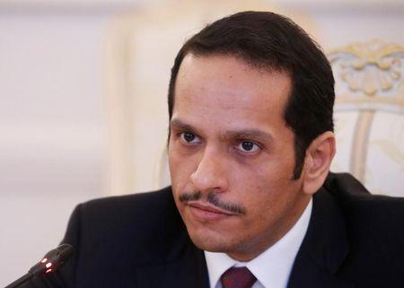 Qatari Foreign Minister Sheikh Mohammed bin Abdulrahman bin Jassim Al-Thani attends a meeting with Russian Foreign Minister Sergei Lavrov in Moscow