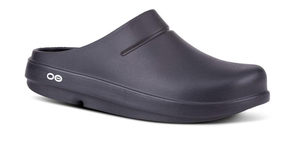 "<h2>OOFOS OOcloog Clog</h2> <br>These clogs were designed to reduce the stress on your feet and joints. They're also extremely light weight and machine washable, which makes sanitizing them after a shift easy.<br><br><strong>OOFOS</strong> Women's OOcloog Clog, $, available at <a href=""https://go.skimresources.com/?id=30283X879131&url=https%3A%2F%2Fwww.oofos.com%2Fcollections%2Fwomens-clogs%2Fproducts%2Foofos-oocloog-womens"" rel=""nofollow noopener"" target=""_blank"" data-ylk=""slk:OOFOS"" class=""link rapid-noclick-resp"">OOFOS</a><br>"