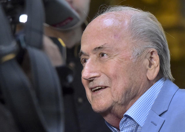 FILE - In this file photo dated Tuesday, June 19, 2018, former FIFA President Joseph Blatter in Moscow, Russia. According to documents Saturday June 13, 2020, former FIFA president Sepp Blatter is the target of a new investigation in Switzerland for suspected criminal mismanagement of soccer funds. (AP Photo/Dmitry Serebryakov, FILE)