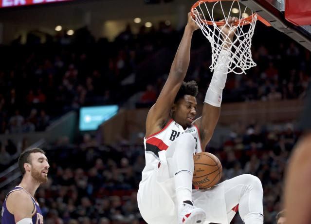 Portland Trail Blazers center Hassan Whiteside says his ankle is pain free, Nassir Little will miss final preseason games: Practice notes