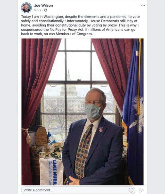 Rep. Joe Wilson (R-S.C.) deleted this Facebook post after receiving a positive COVID-19 diagnosis.  (Photo: Facebook)