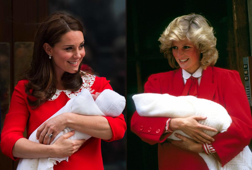 (FILE PHOTO) In this photo composite a comparison has been made between Catherine, Duchess of Cambridge carrying her newborn son and Diana, Princess of Wales carrying her newborn son Prince Harry (R) both leaving the Lindo Wing of St Mary's hospital. ***LEFT IMAGE*** Editorial # 950804602 LONDON, UNITED KINGDOM - APRIL 23: Catherine, Duchess of Cambridge carries her newborn son as she leaves the Lindo Wing of St Mary's hospital on April 23, 2018 in London, England. (Photo by Anwar Hussein/WireImage) RIGHT IMAGE***  Editorial # 909562840 LONDON, UNITED KINGDOM - SEPTEMBER 17: Diana, Princess of Wales leaves the Lindo Wing, St Mary's Hospital with baby Prince Harry on September 17, 1984 in London, England. (Photo by Anwar Hussein/Getty Images)