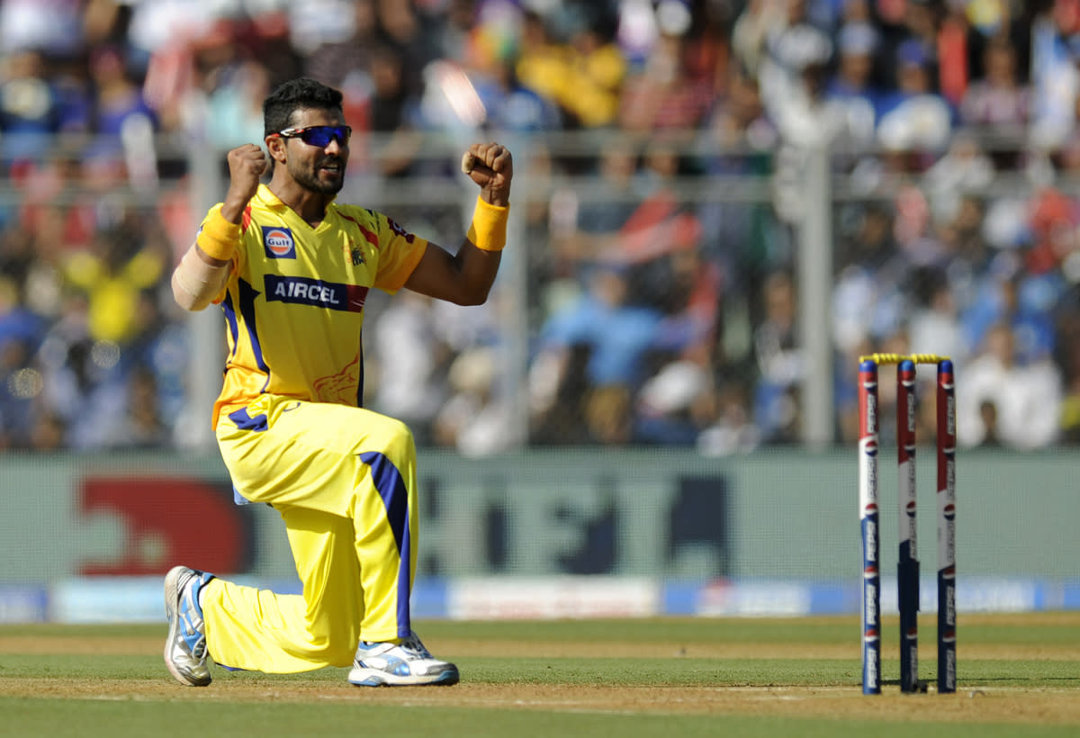 Ravindra Jadeja of Chennai Super Kings celebrates the wicket of Sachin Tendulkar of Mumbai Indians during match 49 of the Pepsi Indian Premier League ( IPL) 2013  between The Mumbai Indians and the Chennai SUperkings held at the Wankhede Stadium in Mumbai on the 5th May 2013 ..Photo by Pal Pillai-IPL-SPORTZPICS  ..Use of this image is subject to the terms and conditions as outlined by the BCCI. These terms can be found by following this link:..https://ec.yimg.com/ec?url=http%3a%2f%2fwww.sportzpics.co.za%2fimage%2fI0000SoRagM2cIEc&t=1500733878&sig=HsKV8ad10BefZFBgNSV8Dw--~C