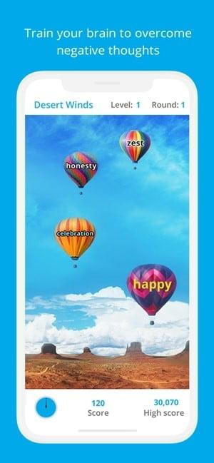 Screenshot of Happify app showing training your brain