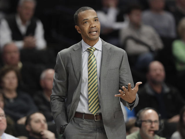 Charlotte head coach Ron Sanchez directs his team against Wake Forest in the first half of an NCAA college basketball game in Winston-Salem, N.C., Thursday, Dec. 6, 2018. (AP Photo/Chuck Burton)