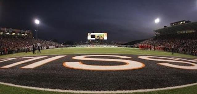 The scoreboard that features illuminated Paul Brown iconography — OHSAA