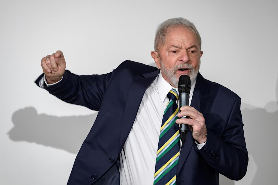 "Former Brazilian president Luiz Inacio Lula da Silva delivers a speech during an event on the theme ""Dialogue about inequality with global unions and general public"" at the Geneva Press Club on March 6, 2020 in Geneva. (Photo by FABRICE COFFRINI / AFP) (Photo by FABRICE COFFRINI/AFP via Getty Images)"