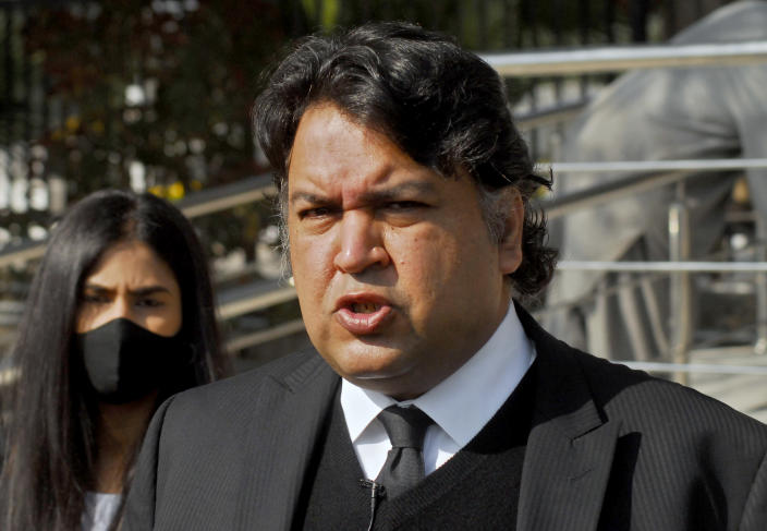"""Faisal Siddiqi, a lawyer for the family of Daniel Pearl, an American reporter for the Wall Street Journal who was kidnapped and killed in Pakistan, talks to journalists after an appeal hearing in the case, at the Supreme Court, in Islamabad, Pakistan, Wednesday, Jan. 27, 2021. In a dramatic turn of events, Ahmad Saeed Omar Sheik, a man convicted and later acquitted in the 2002 murder of American journalist Daniel Pearl admitted a """"minor"""" role in his death, upending 18 years of denials, the Pearl family lawyer said Wednesday. (AP Photo/Waseem Khan)"""
