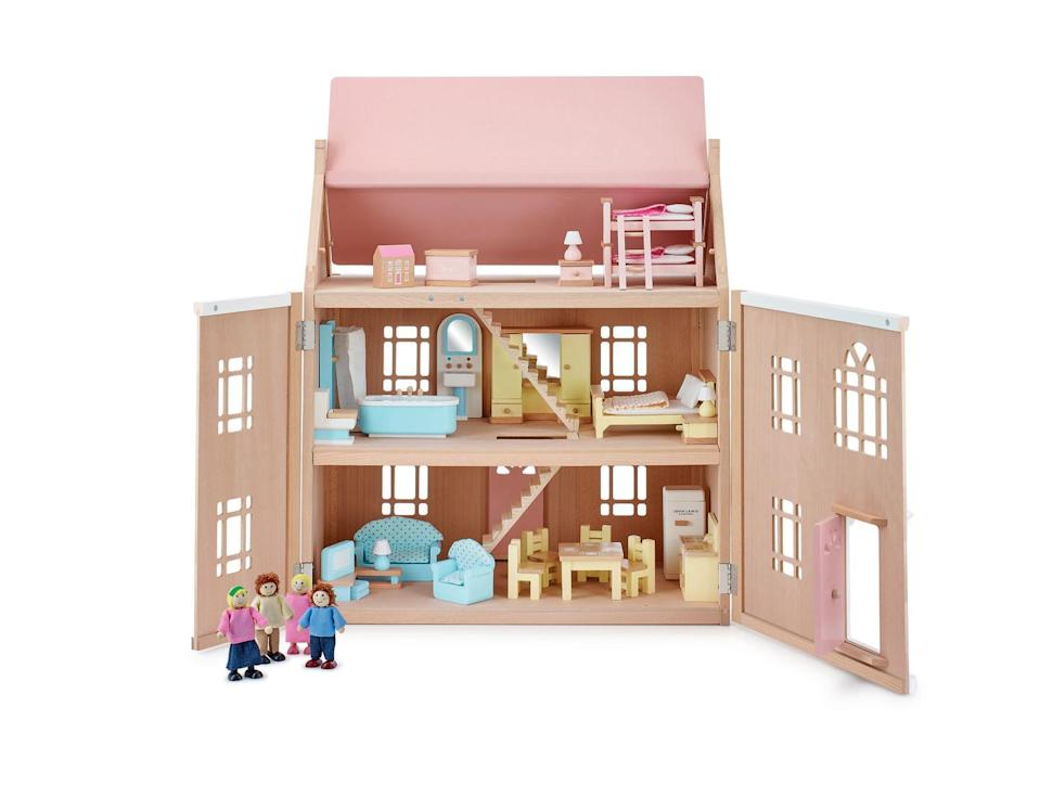 "<p>This beautiful play doll's house in blush pink has three floors, miniature furniture and plenty of finger-sized dolls for your children to play with. </p><p><strong>Like this article? </strong><a href=""https://hearst.emsecure.net/optiext/cr.aspx?ID=DR9UY9ko5HvLAHeexA2ngSL3t49WvQXSjQZAAXe9gg0Rhtz8pxOWix3TXd_WRbE3fnbQEBkC%2BEWZDx"" rel=""nofollow noopener"" target=""_blank"" data-ylk=""slk:Sign up to our newsletter"" class=""link rapid-noclick-resp""><strong>Sign up to our newsletter</strong></a><strong> to get more articles like this delivered straight to your inbox.</strong></p><p><a class=""link rapid-noclick-resp"" href=""https://hearst.emsecure.net/optiext/cr.aspx?ID=DR9UY9ko5HvLAHeexA2ngSL3t49WvQXSjQZAAXe9gg0Rhtz8pxOWix3TXd_WRbE3fnbQEBkC%2BEWZDx"" rel=""nofollow noopener"" target=""_blank"" data-ylk=""slk:SIGN UP""><strong>SIGN UP</strong></a></p>"