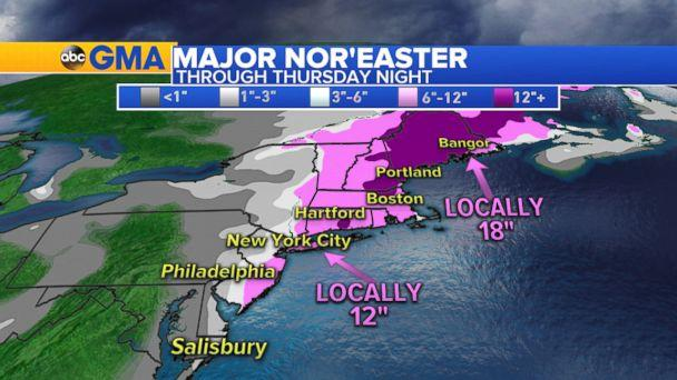 PHOTO: Weather map showing snow fall forecast for Thursday on the east coast of the U.S., Jan. 4, 2018. (ABC News)