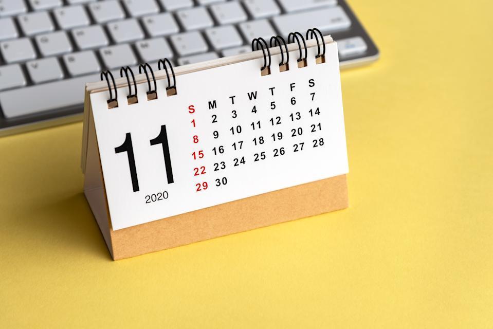 November Calendar on Yellow Background