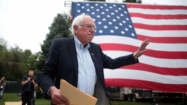PHOTO: Democratic presidential candidate, Sen. Bernie Sanders greets guests at the Polk County Democrats' Steak Fry on Sept. 21, 2019, in Des Moines, Iowa. (Scott Olson/Getty Images, FILE)