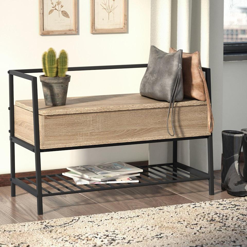 <p>This <span>Laurel Foundry Modern Farmhouse Ermont Storage Bench</span> ($137) is both practical and great for small spaces.</p>